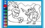Онлайн раскраска: Саблезубый тигр и белка из Ледникового периода